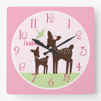Personalized Willow Deer Girl  Nursery Clock