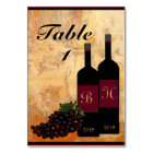 Personalized Wine Bottles and Grapes Table Number