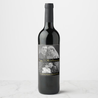 Personalized Wine Label Happy 50th Anniversary Pic