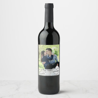 Personalized Wine Label with Photo Couple Wedding