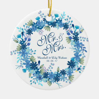 Personalized Winter Floral Wedding   Ornament