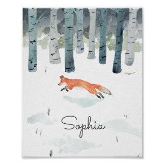 Personalized Winter Fox Poster