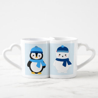 Personalized Winter Penguin and Polar Bear Coffee Mug Set