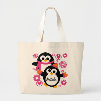 Personalized Winter Penguins Tote Bag