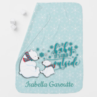Personalized Winter Polar Bears Baby Blanket