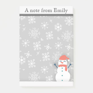 Personalized Winter Snow / Snowman 2 Post it Notes