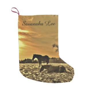 Personalized with name Sunset horses in snow Small Christmas Stocking