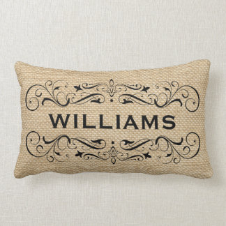 Personalized with Name | Vintage Flourish Lumbar Pillow