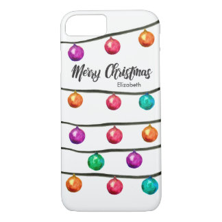 Personalized with Name, Watercolor Christmas balls iPhone 8/7 Case