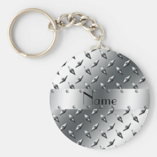 Personalized with your name diamond plate steel keychain