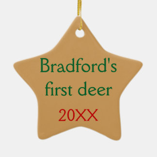 Personalized with your text Deer in the Mist Ceramic Star Ornament