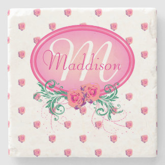 Personalized Women's Girl's Pink White Rose Stone Coaster