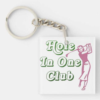 Personalized Womens Golf Hole in One Memento Double-Sided Square Acrylic Keychain