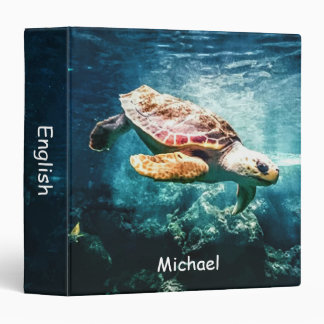Personalized Wonderful Sea Turtle Ocean Life Vinyl Binder