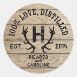 Personalized Wood Bourbon Barrel Wedding Monogram Round Sticker