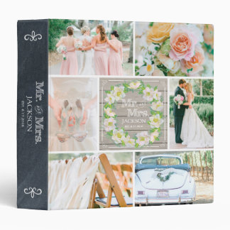 PERSONALIZED WOOD FLORAL 2 WEDDING PHOTO COLLAGE 3 RING BINDER
