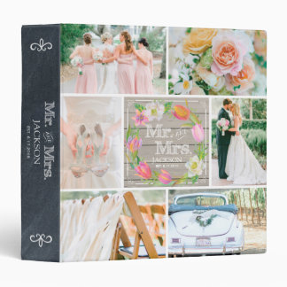 PERSONALIZED WOOD FLORAL 3 WEDDING PHOTO COLLAGE 3 RING BINDER