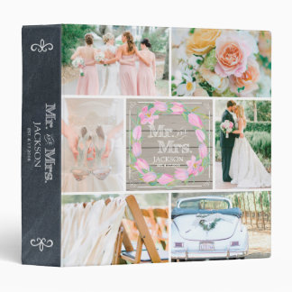 PERSONALIZED WOOD FLORAL 4 WEDDING PHOTO COLLAGE 3 RING BINDER