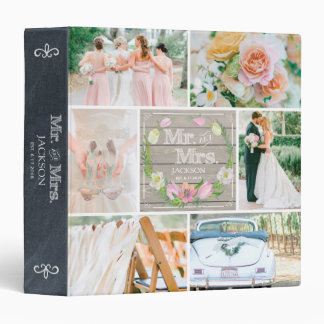 PERSONALIZED WOOD FLORAL I WEDDING PHOTO COLLAGE BINDER
