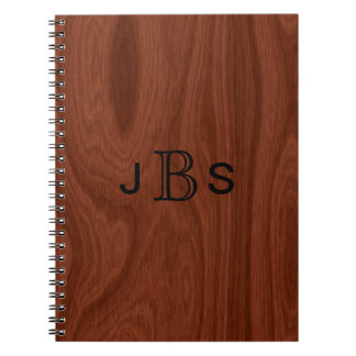 Personalized Wood Look | Monogrammed Initials Spiral Notebook