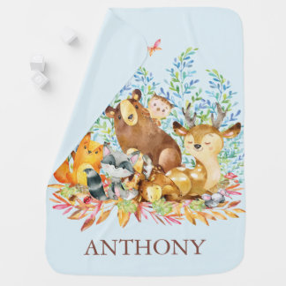 Personalized Woodland Animal Boys Blanket