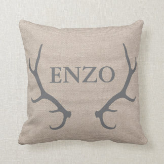 Personalized Woodland Antlers Throw Pillow