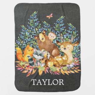 Personalized Woodland Boy Girl  Receiving Blanket