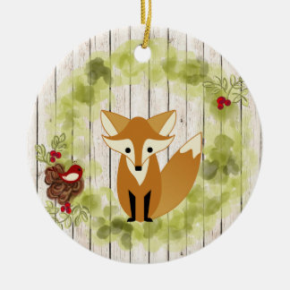 Personalized Woodland Fox, Bird and Holiday Wreath Ceramic Ornament