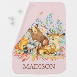 Personalized Woodland Girls  Receiving Blanket