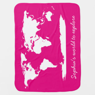Personalized World Map & Alphabets Baby Blanket