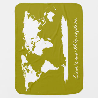 Personalized World Map & Alphabets Swaddle Blankets