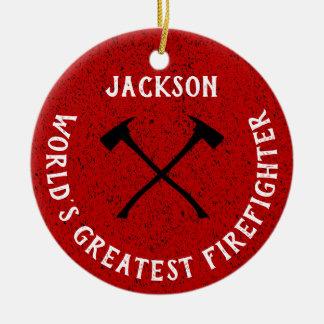 Personalized  Worlds Greatest  Fireman Ceramic Ornament
