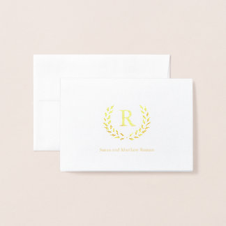 Personalized Wreath Monogram Initial, Foil Foil Card