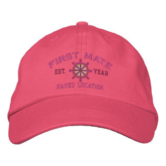 Personalized YEAR and Names First Mate Wheel Embroidered Hat