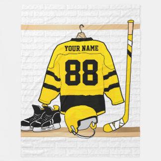 Personalized Yellow and Black Ice Hockey Jersey Fleece Blanket