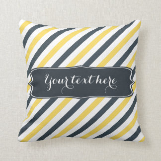 Personalized Yellow and Charcoal Grey Stripes Throw Pillow