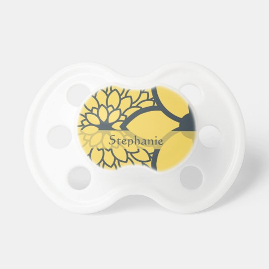 Personalized Yellow and Charcoal Modern Floral Pacifier