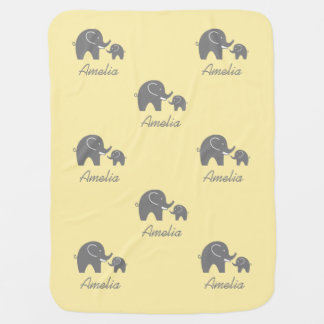 Personalized yellow and grey elephant baby blanket
