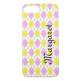 Personalized Yellow and Pink Argyle Plaid Pattern iPhone 7 Case