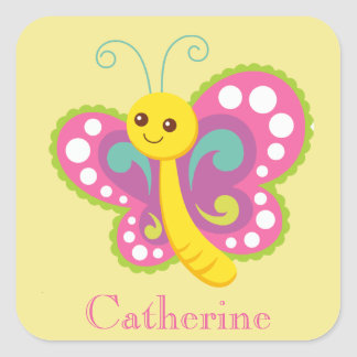 Personalized Yellow and Pink Butterfly Square Sticker