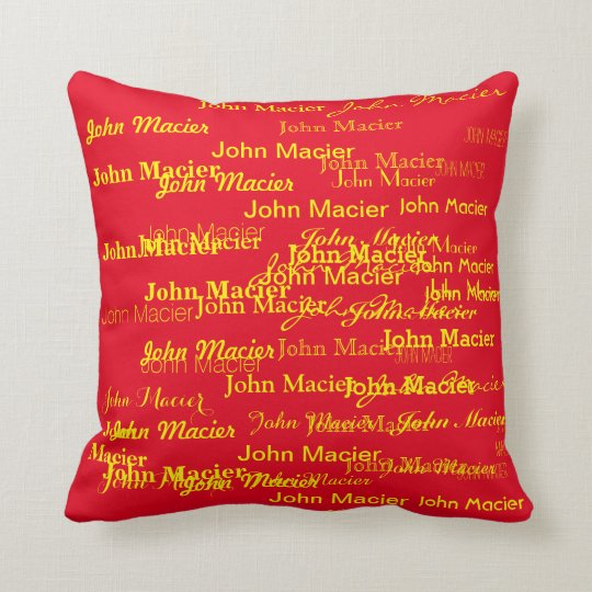 personalized yellow and red, cool typography throw pillow