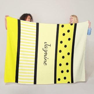 Personalized Yellow Black Polka Dots Stripes Fleece Blanket
