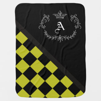 Personalized Yellow Blck Checkerboard Crown Flrish Baby Blanket