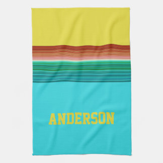 Personalized Yellow Blue Multicolor Stripe Pattern Kitchen Towel
