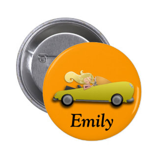 Personalized Yellow Car and Girl Button