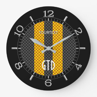 Personalized Yellow Carbon Style Racing Stripes Large Clock