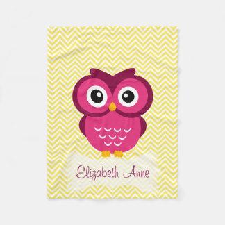 Personalized Yellow Chevron Pink Owl Fleece Blanket