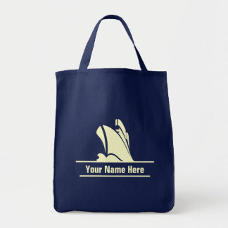 Personalized Yellow Cruise Icon Grocery Tote Bag