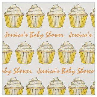 Personalized Yellow Cupcake Baby Shower Fabric