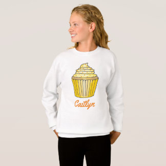 Personalized Yellow Cupcake Foodie Sweatshirt